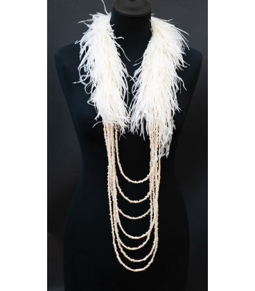 Statement luxury necklace from ostrich feathers