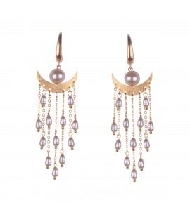 Dangling pearl earrings.