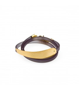 Rubber and gold plated bracelet.
