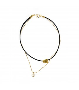 Leather choker and gold plated chain.