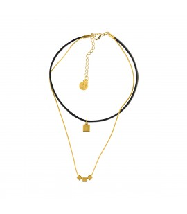 Leather choker and gold plated chain,