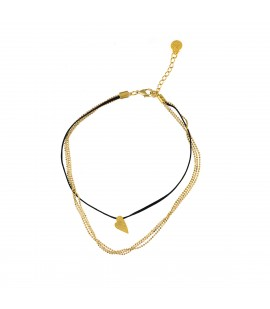 Velvet choker and gold plated chains