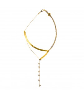 Necklace from gold plated bronze and crystals,