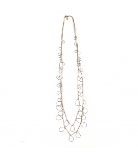 Long faux leather necklace with silver plated drops