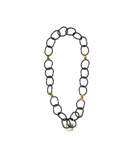 Rubber necklace with gold plated element.
