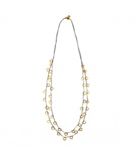 Long suede necklace with gold plated elements.