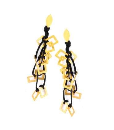 Drop gold plated earring with black leather.