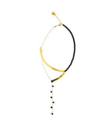 Delicate necklace from gold plated bronze and black crystals,