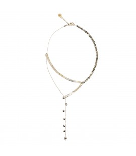 Y shaped necklace with silver crystals.
