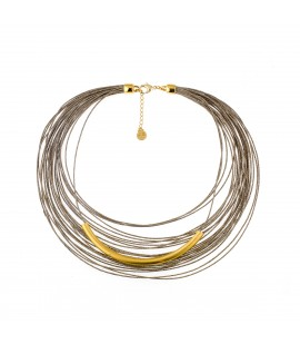 Italien linen and gold plated necklace.