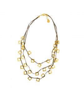 Layered faux sued  necklace.