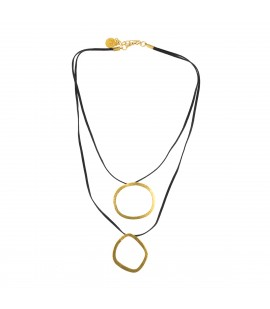 Sportive faux suede gold plated necklace.