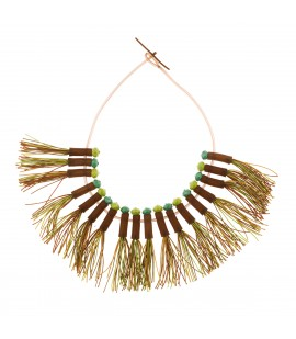 Boho fringed necklace beige