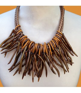 Boho cord leather and coral necklace.