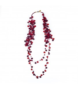 Long red resin petal necklace