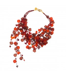 Layered red petals necklace.