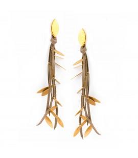 Long drop earrings.