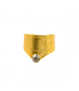 Handmade bronze gold plated ring with Swarovski crystal.