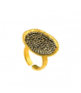 Handmade bronze gold plated ring with Swarovski crystals.