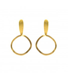 Drop hoop gold plated earrings.
