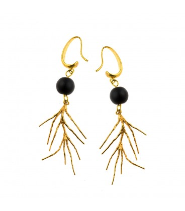 Coral shaped drop earrings with black bead.