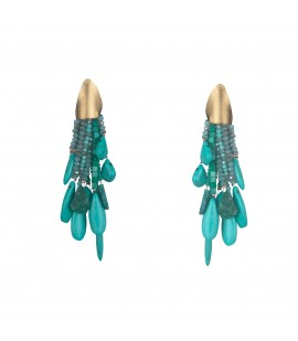 Long turquoise dangle earrings.