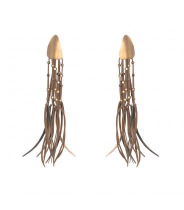 Drop long handmade earrings.