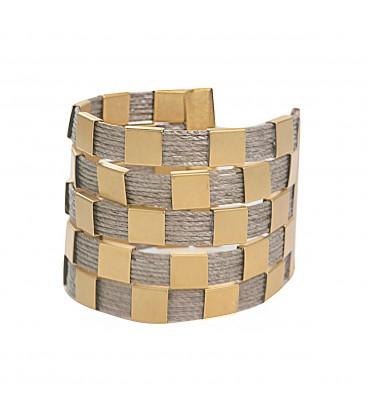 Stylish handmade checked cuff.