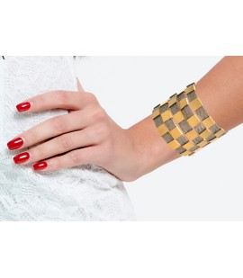 Stylish handmade checked cuff.