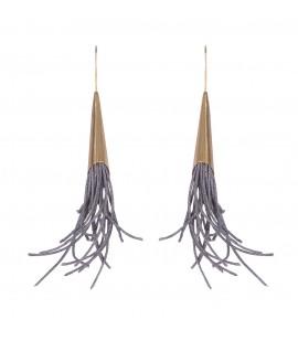 Stylish long linen earrings.