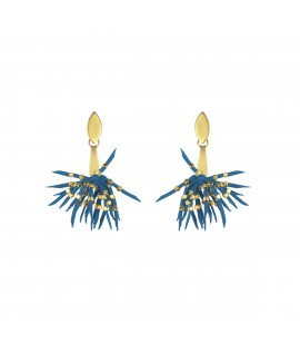 Playful faux suede earrings, steel blue