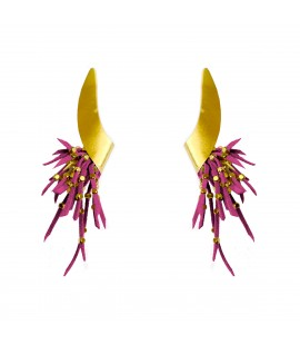 Stylish uniquely shaped earrings, fuchsia