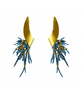 Stylish uniquely shaped earrings, steel blue.