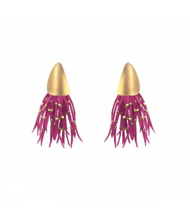 Playful faux suede earrings, fuchsia