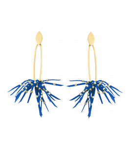 Stylish faux suede earrings, blue