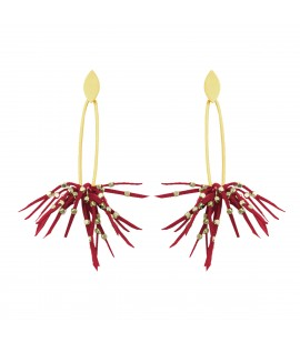 Stylish faux suede earrings, red.