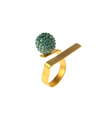 Gold plated ring with Swarovski crystals.