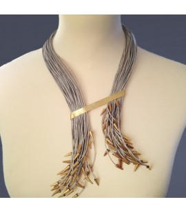 Stylish  linen and gold plated necklace.
